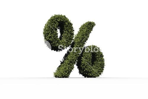 Percentage sign made of leaves