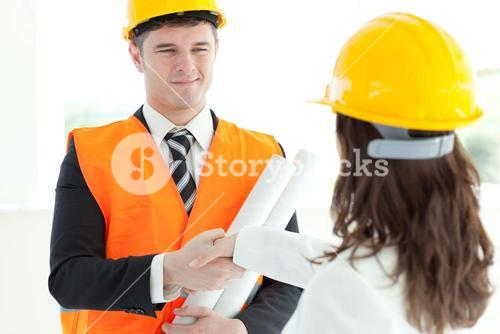 Attractive architect discussing with his colleague