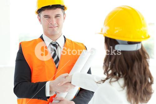 Mature architect discussing with his colleague