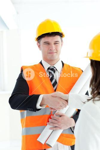 Cute architect discussing with his colleague