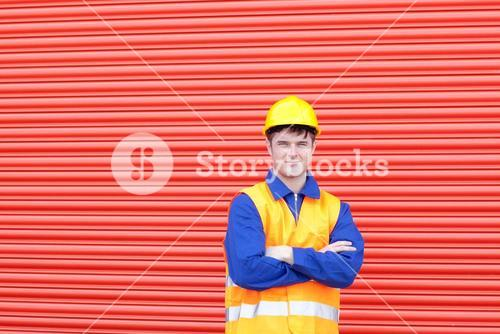 Confident male engineer standing