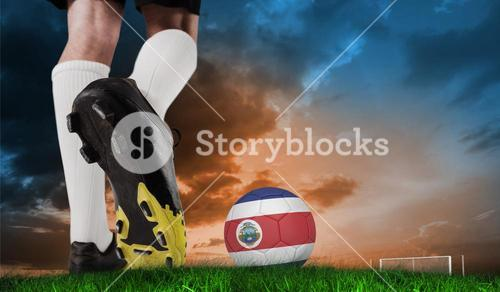 Composite image of football boot kicking costa rica ball
