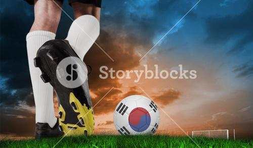 Composite image of football boot kicking korea republic ball