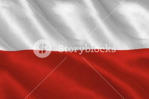 Digitally generated polish flag rippling