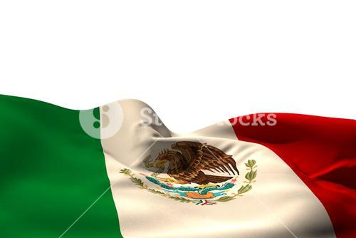 Digitally generated mexico flag rippling