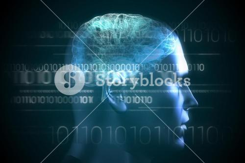 Brain interface in blue with binary code