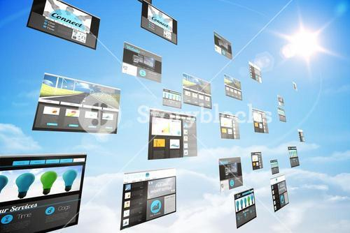 Screens showing business advertisement in blue sky