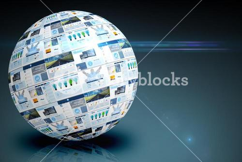 Screen sphere showing business advertisement