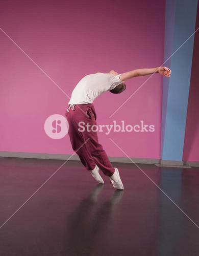 Cool break dancer stretching backwards