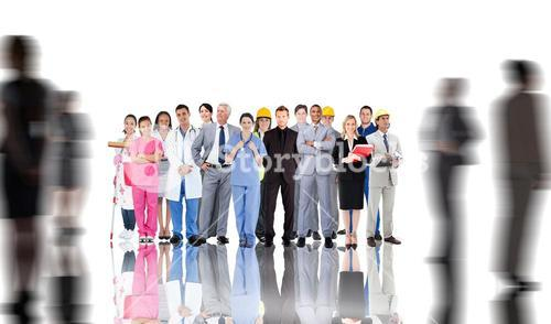 Composite image of smiling group of people with different jobs