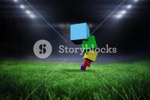 Composite image of pile of 3d colourful cubes