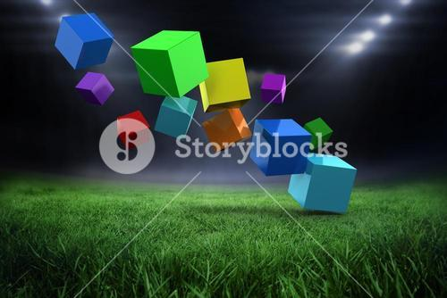 Composite image of 3d colourful cubes floating