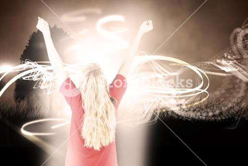 Composite image of cheering football fan in red