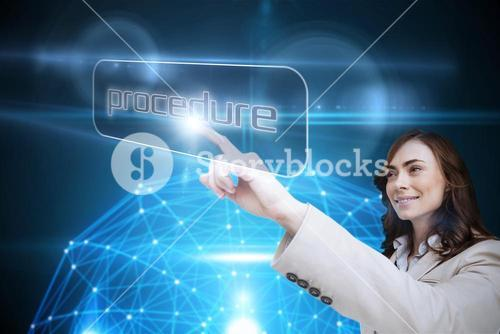 Businesswoman pointing to word procedure