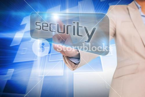 Businesswoman pointing to word security