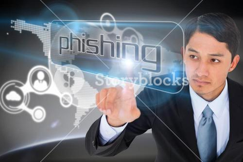 Businessman pointing to word phishing