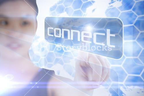 Businesswoman pointing to word connect