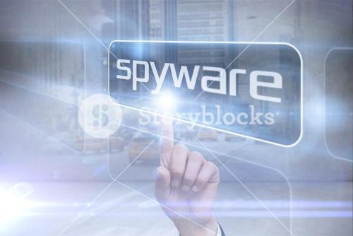 Businessman pointing to word spyware