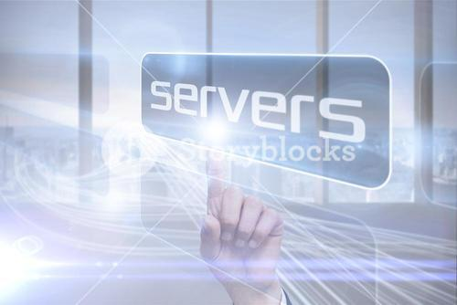 Businessman pointing to word servers