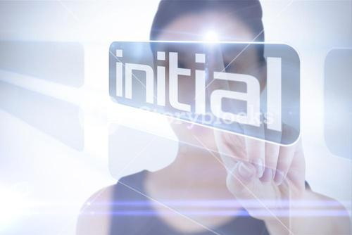 Businesswoman pointing to word initial