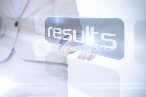 Businesswoman pointing to word results