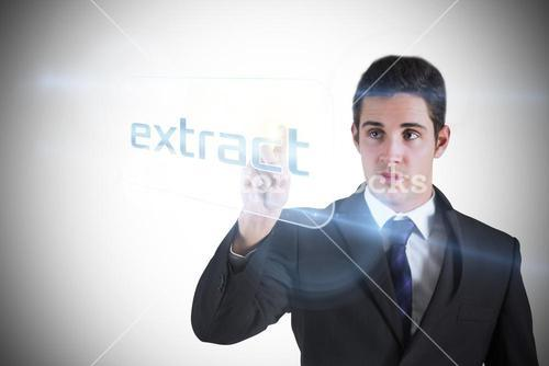 Businessman pointing to word extract