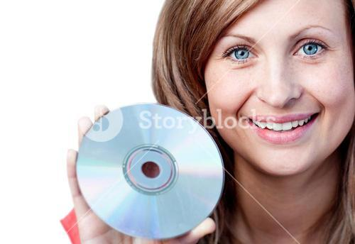 Cute woman holding a cd rom