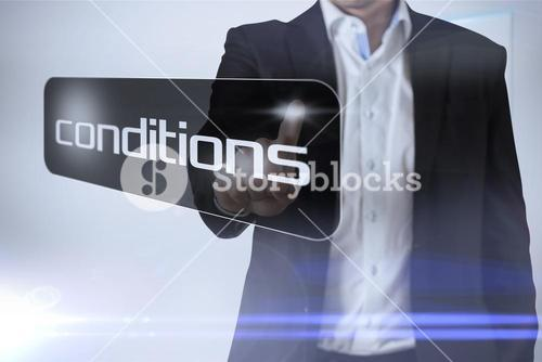 Businessman pointing to word conditions