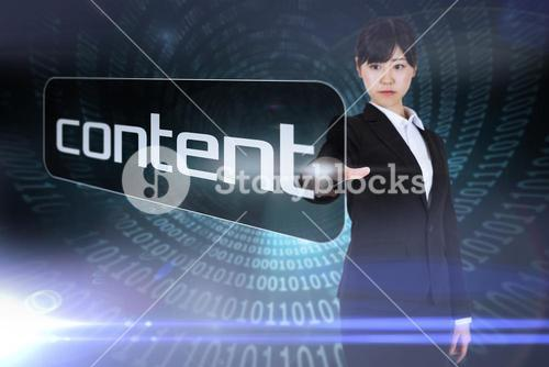 Businesswoman pointing to word content