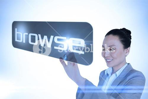 Businesswoman pointing to word browse