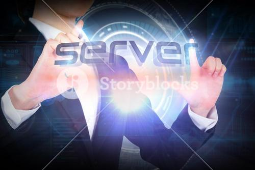 Businesswoman presenting the word server