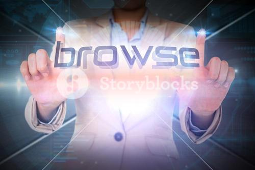 Businesswoman presenting the word browse