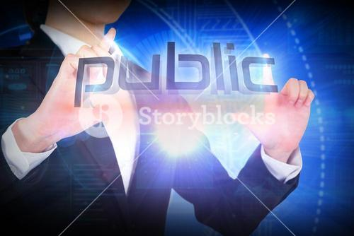 Businesswoman presenting the word public