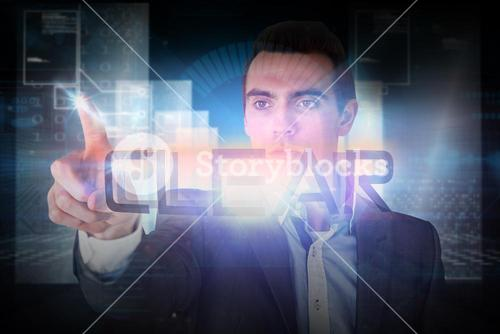 Businessman pointing to the word clear