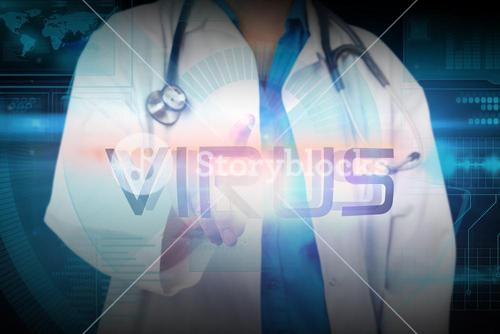 Doctor presenting the word virus