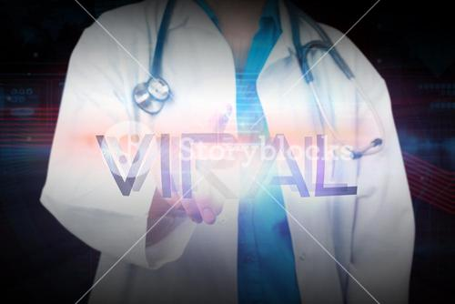 Doctor presenting the word viral