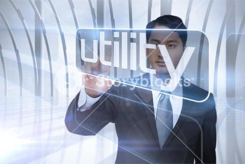 Businessman presenting the word utility
