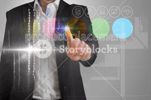 Businessman touching the words product placement on interface