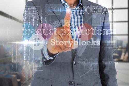 Businessman touching the words product promotion on interface