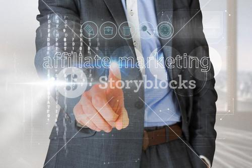 Businessman touching the words affliate marketing on interface