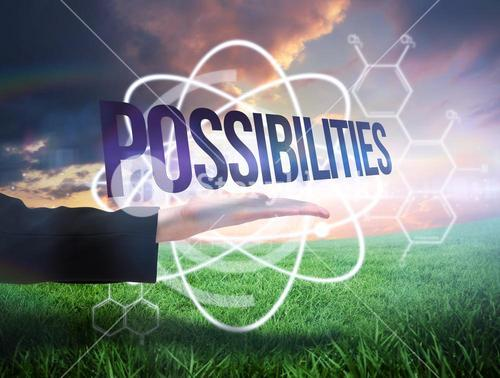 Businesswomans hand presenting the word possibilites