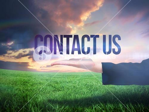 Businesswomans hand presenting the word contact us