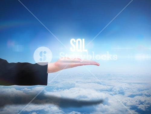 Businesswomans hand presenting the word sql