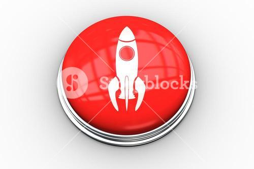 Composite image of rocket ship graphic on button