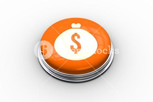 Composite image of money bag graphic on button