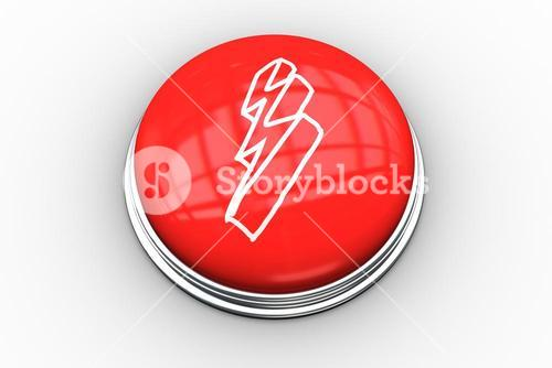 Composite image of lightning bolt graphic on button
