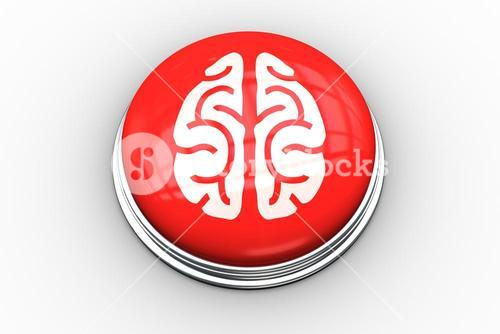 Composite image of brain graphic on button