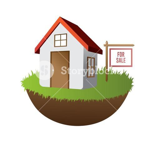 Home for sale on grass with sign vector