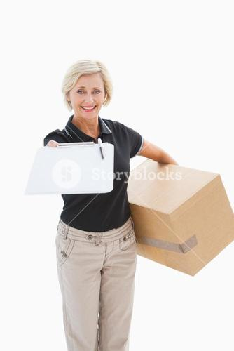 Happy delivery woman looking for signature