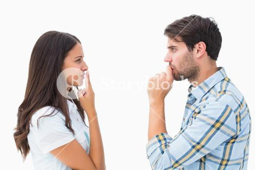 Upset young couple not talking